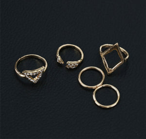 5Pcs Rhinestone Gold Knuckle Band Stack Rings
