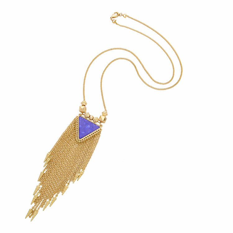 Unique Ethnic Jewelry Gold Long Tassel Double Chain