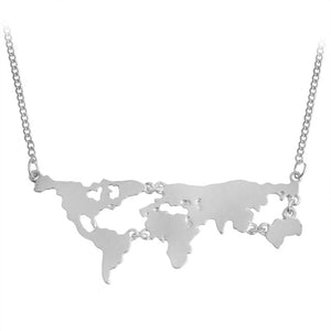 """We Are The Word"" World Map Pendant Necklace"