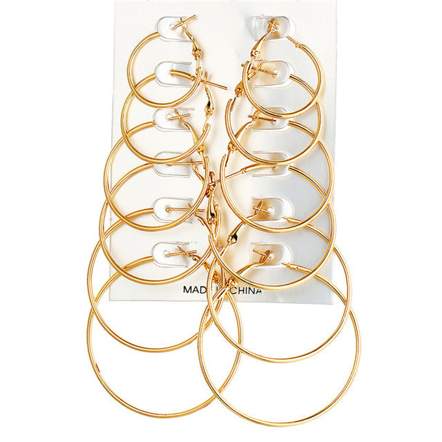 6 pairs of EXTRA LARGE GOLD HOOPS