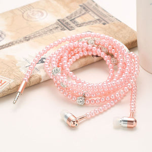 Pearl & Cyrstal Necklace Earphones