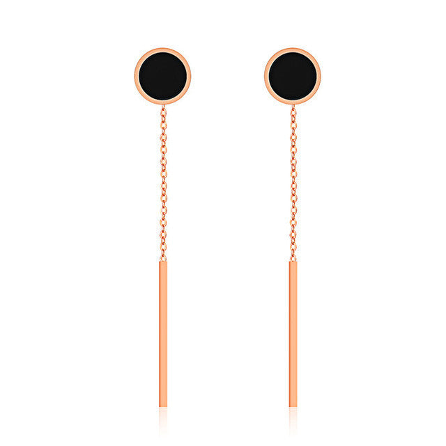 """Dot Don"" Long Tassel Rose Gold Earrings"