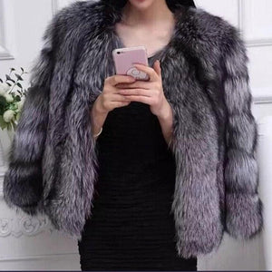 """Badd & Boujie"" Silver Fox Fur Coat"