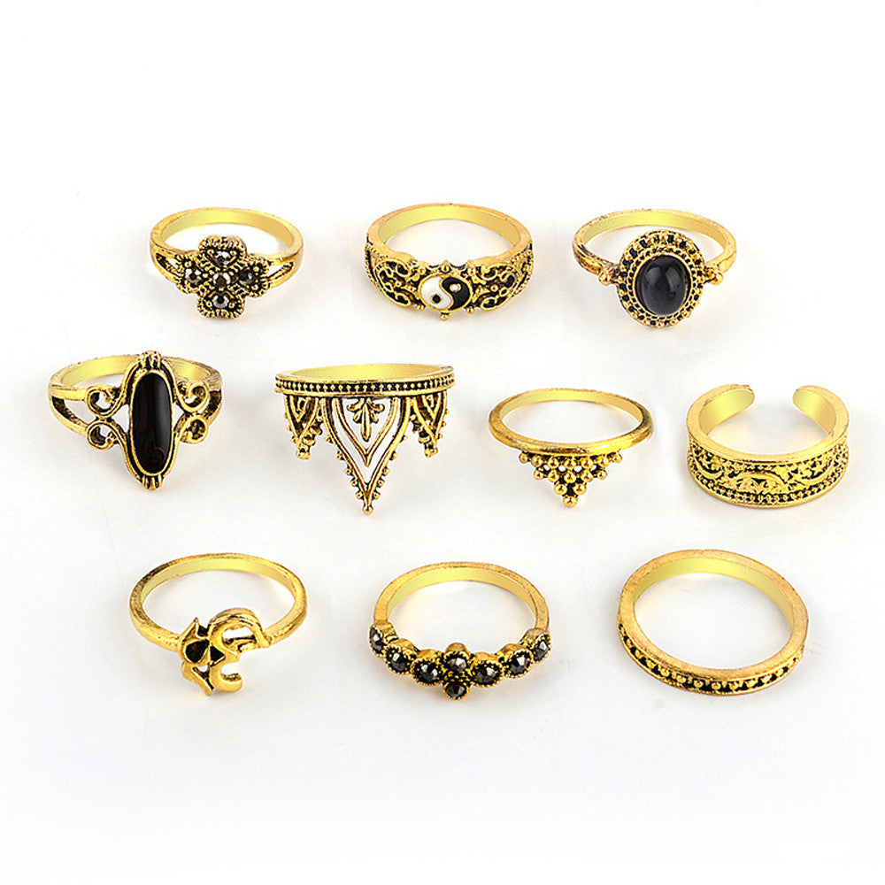 10 piece Bohemian Vintage Stack Ring Set