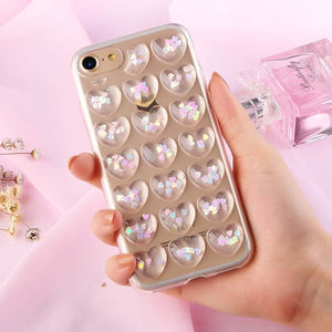 Glitter Sequins 3D Love Heart Phone Cases For iPhone 8 7 6 6s Plus