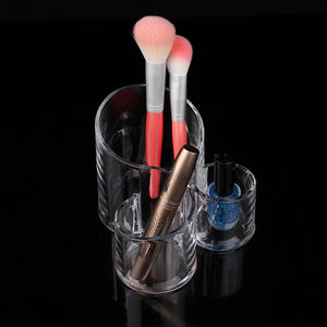 High Quality 3-Cells Round Acrylic Cosmetic Storage Organizer