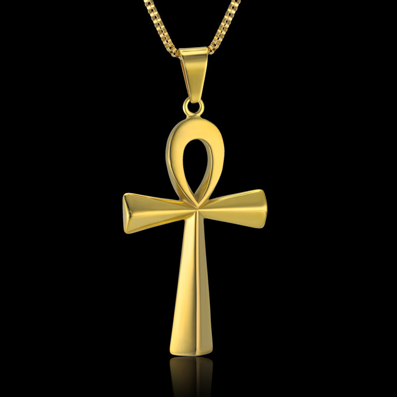 Gold Ankh Egyptian Pendant Necklace