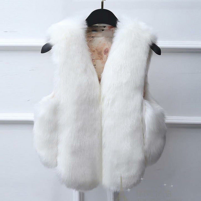 Thick Faux Fur Waist Length Vest