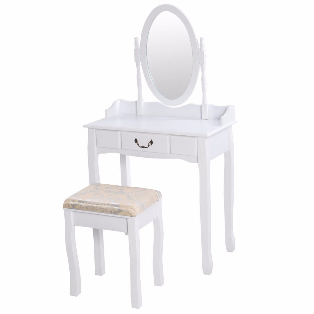 New! Makeup Dressing Table Vanity and Stool Set w/ Adjustable Swivel Oval Mirror