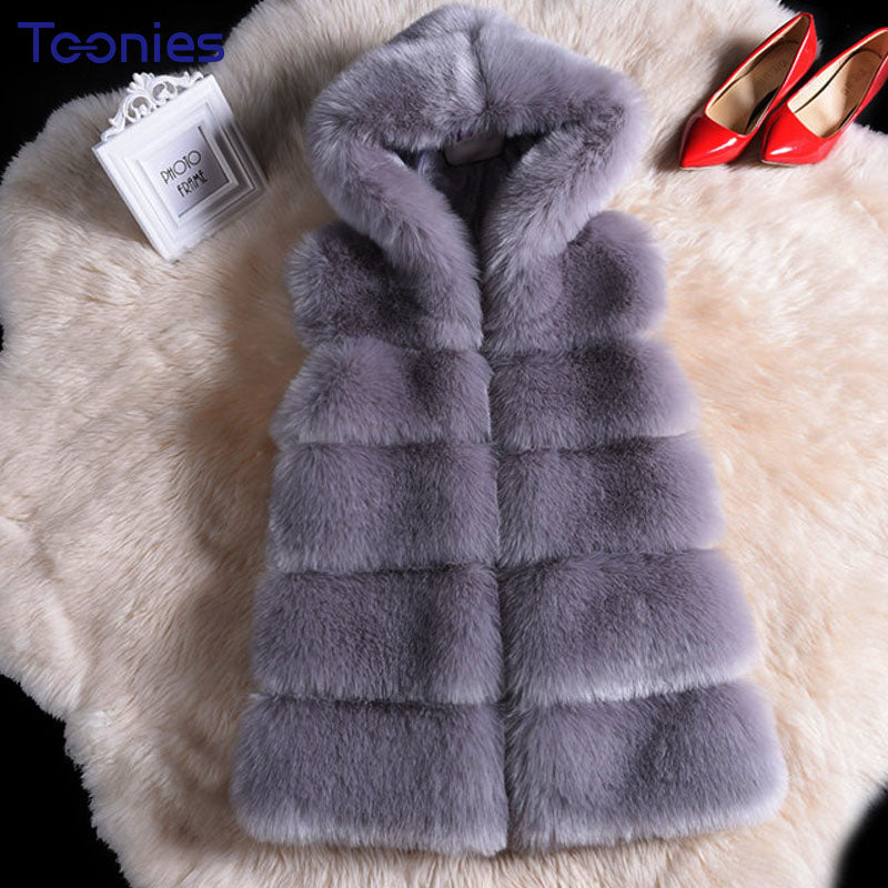 SUPER THICK Luxury Faux Fox Fur Coat w/ Hood