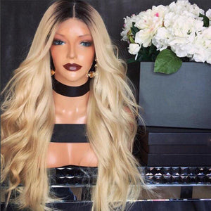 """Ms. Trap"" Blonde Lace Front Wig Ombre Wig With Dark Roots Heat Resistant"