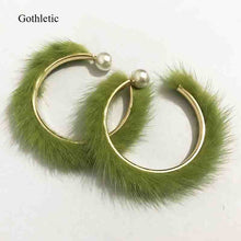 Real Mink Fur Hoop Earrings w/ Pearl Attachment