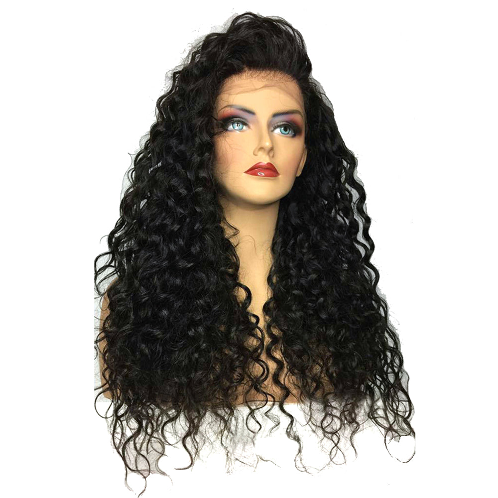 180% Heavy Density 26 Inch Black Long Curly Synthetic Lace Front Wig Heat Resistant