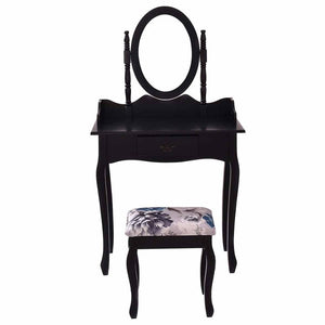 Vanity Wood Makeup Dressing Table Stool Set w/ Swivel Mirror