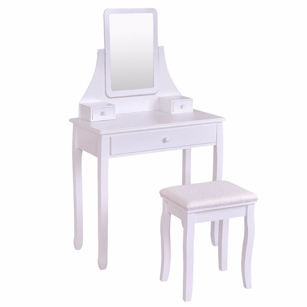Makeup Dressing Table Vanity Desk and Stool Set with Square Mirror and 3 Drawers!