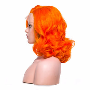 """The Vigilante"" Short Bob Orange Color Synthetic Wig"