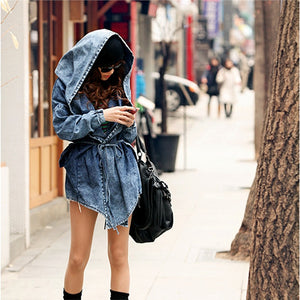 Denim Hooded Trench Coat FREE SIZE!