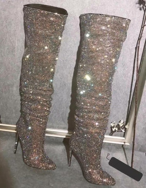 SUPER TREND! HIGH FASHION! Crystal Studded Boots!