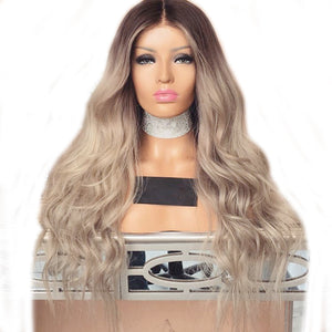 """Kesha"" Synthetic Lace Front Wig - Brown to Platinum Blonde Ombre"