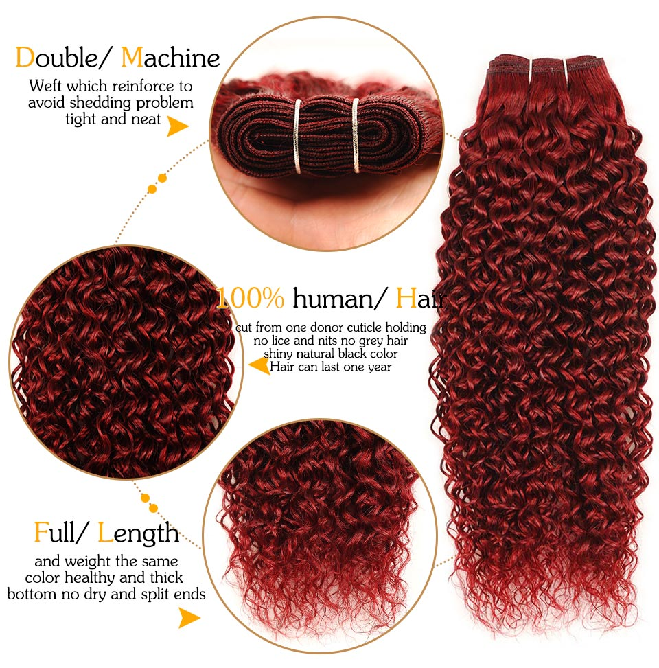 """Red Velvet Cake 2"" MALAYSIAN CURLY 100% HUMAN HAIR - PRECOLORED 3 BUNDLES & FREE CLOSURE"
