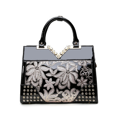 """Ellen"" Patent Leather High Fashion Chic Handbag"