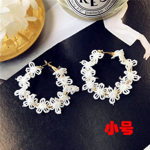 South Korean Flower Laced Earrings