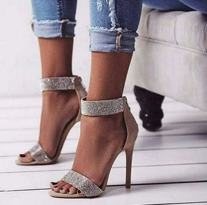 Chocha High Heel Stiletto with Crystal Ankle Strap