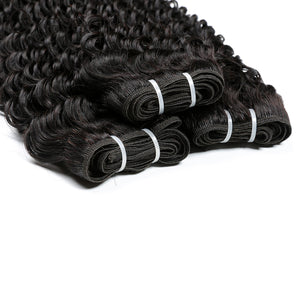 "Deep Wave Brazilian Hair 4""x13"" Ear To Ear Lace Frontal Closure With 3 Bundles"
