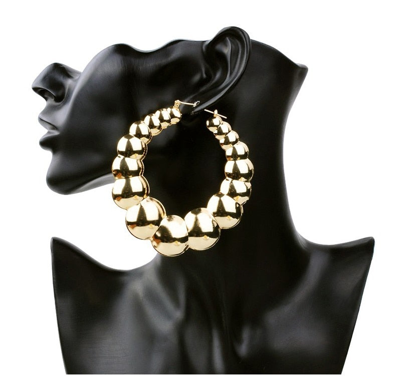 Exaggerated Hoop Earrings  Round Retro