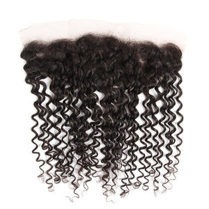 """Treasure 2"" Brazilian Curly Hair 13x4 Lace Frontal Closure With 4 Bundles"