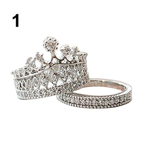 Hot Sales Selling Women's Crown Statement Ring 2 Band Stack Rhinestone Alloy Jewelry Gift Golden