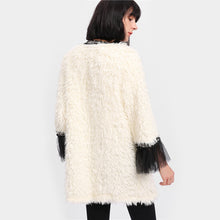 """BMAL YRAM"" Fur Throw Over w/ Sheer Ruffled Cuffs"