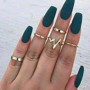 """Bolt"" Mid-Finger Stack Rings"