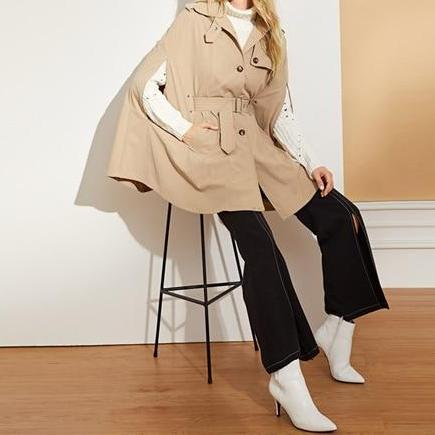 """Gadgets"" Khaki Elegant Adjustable Belted Coat"