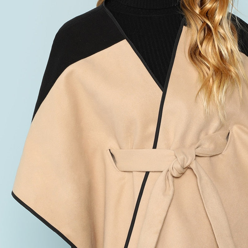 Cut and Sew Lace Up Coat 3/4 Sleeve Belted Outer Coats