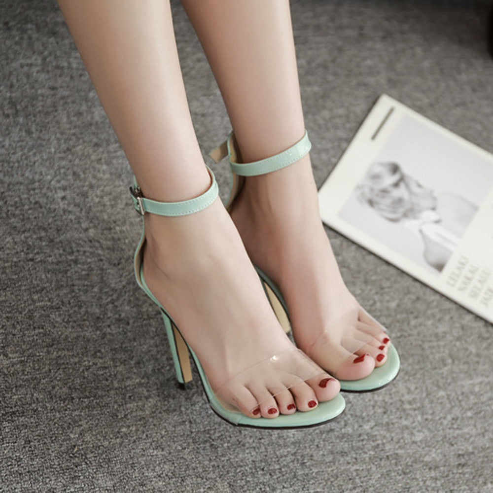 Fashion Women Transparent Sandals Summer Shoes Thick Buckle Party  Sexy Highheel