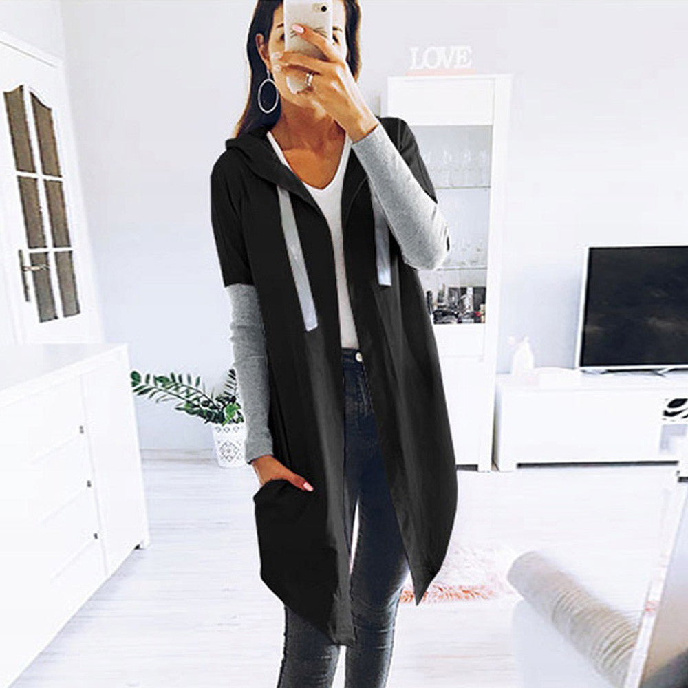 Color Blocked Hooded OverCoat