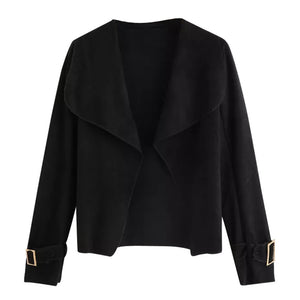 Women Long Sleeve Black Turn Down Collar Short Solid Suit Jacket Cardigan Coat