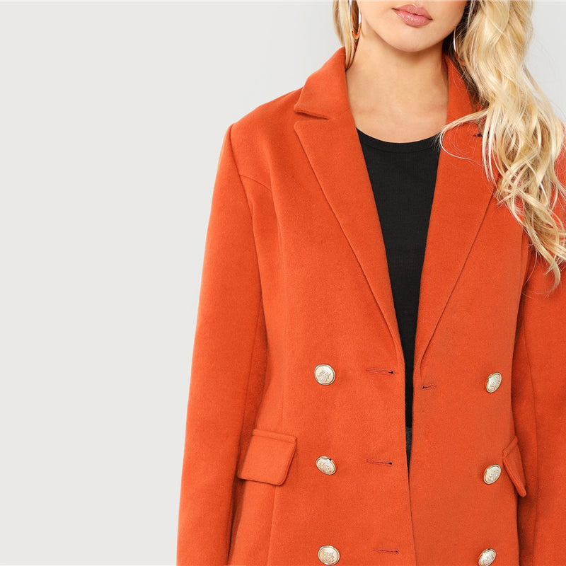 """Mortified"" Long Orange Blazer w/ Notched Neck"