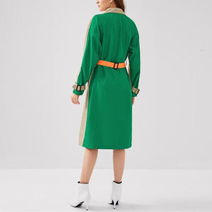 Color-Blocked Trench Coat
