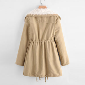 """Campus"" Khaki Preppy Fleece Lined Coat"