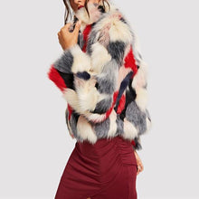 """Mod"" Black, Red, & Grey Fur Coat"