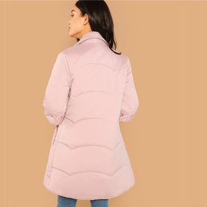 Casual Pink Coat w/ Detailed High Neck