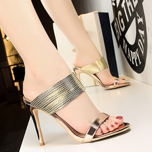 High Heels Sandals Women Shoes Fashion Women Pumps High Heels Shoes Beautiful Stiletto Women Slippers Female Shoes Gold Silver