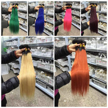 Ombre Brazilian Straight Hair Bundles blonde/pink/orange/burgundy/blue