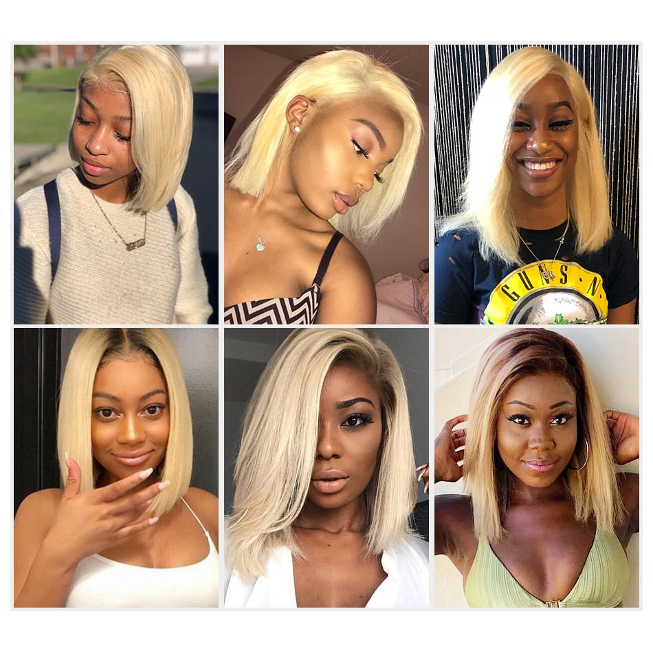 """DOLLY"" 613 Ombre Blonde 13x6 Lace Front Human Hair Wig Brazilian Short Bob"