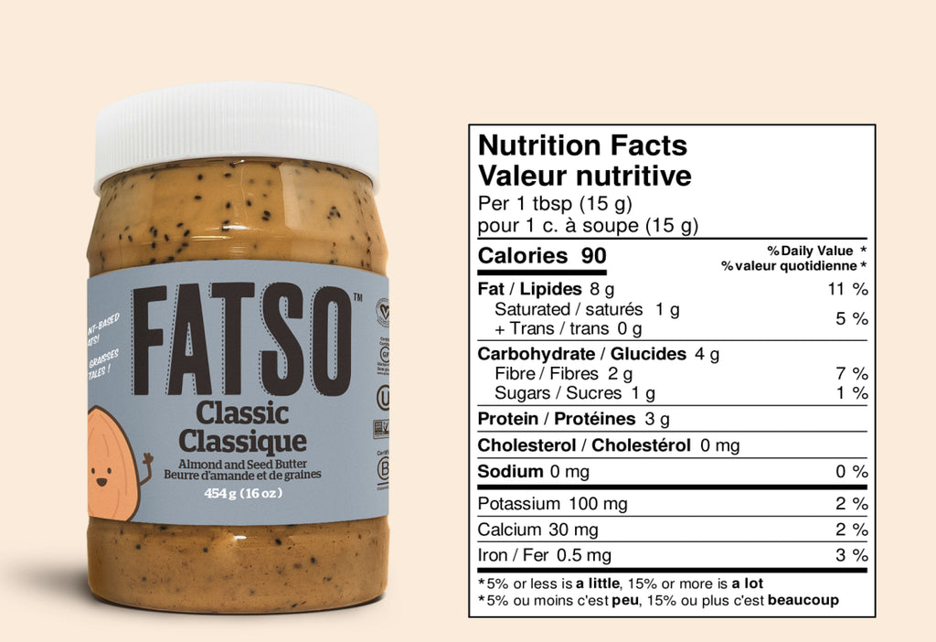 Nutrition Facts for Classic Almond and Seed butter - 1 tbsp: Calories 90