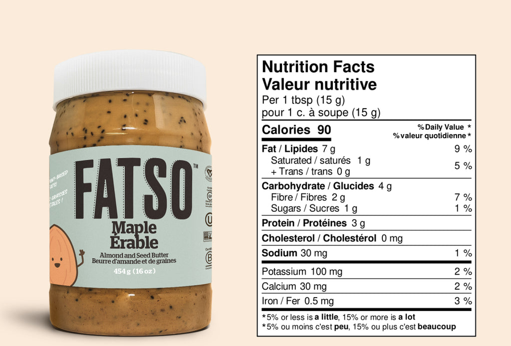 Nutrition Facts for Maple Almond and Seed butter - 1 tbsp: Calories 90
