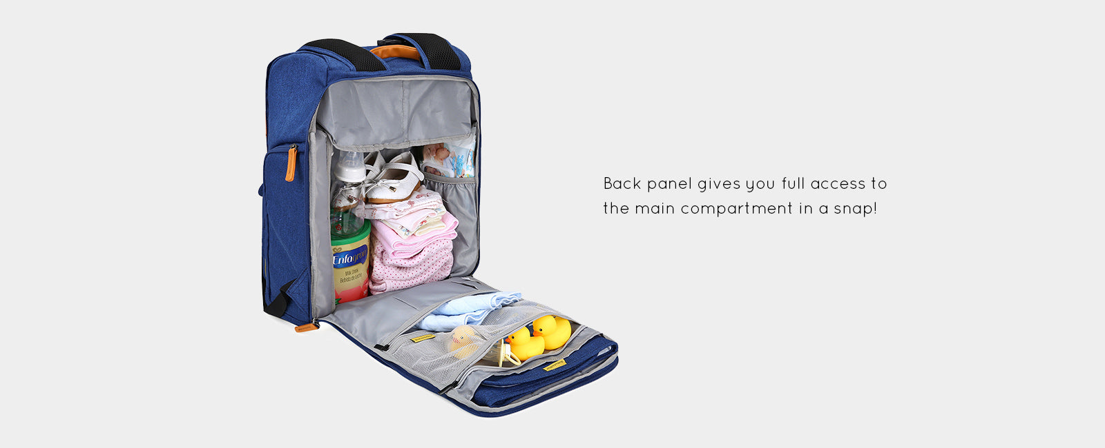 Back-open Baby Diaper Backpack Multi-function Travel Nappy Bag with Changing Pad Stroller Strap Secure Back Pocket