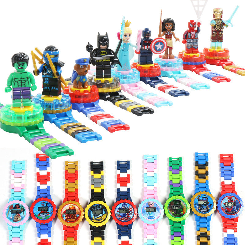 Building block series children cartoon watch